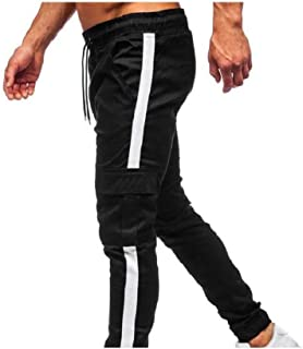 Mens Relaxed Fit Multi Pockets Elastic Waist Long Pants Joggers Pants