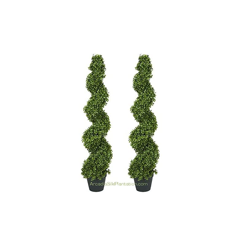 silk flower arrangements arcadia silk plantation 2 pre-potted 4 feet 2 inches spiral boxwood artificial topiary trees in plastic pot