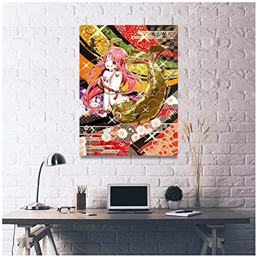 Wsxyhn Arte de la pared impreso imágenes anime oro sirena lona rosa pelo decoración del hogar modular lindo marco de pintura cuadros para sala de estar-50x70cm sin marco