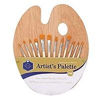 画材筆 水彩画筆 ブラシ 木製 油絵筆 ペイント ナイロン 平型筆 太筆 細筆 美術 絵画用品 初心者 学生 誕生日 プレゼント 12本+パレット セット