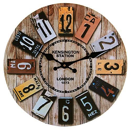 Reloj Pared con Moderno, Redondo 34cm Vintage Reloj de Pared Grande, Reloj Pared Grande, Reloj Pared Silencioso, Reloj de Pared Decoración para Salón, Cocina, Oficina, Dormitorio, Casa, Hotel