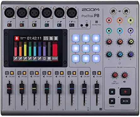 Zoom PodTrak P8 Podcast Recorder 6 Microphone Inputs 6 Headphone Outputs Phone Input Sound Pads product image