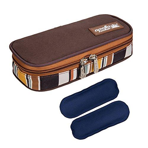 Bolsa diabética ONEGenug Enfriador de insulina Bolsa Bolsa de jeringas para la diabetes, insulina y medicamentos 20x4x9cm (marrón + 2 Bolsas de hielo) ⭐