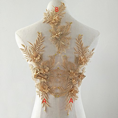 Beaded Flower Sequence lace Applique Motif Sewing Bridal Wedding 3in1 A5 3D (Gold)