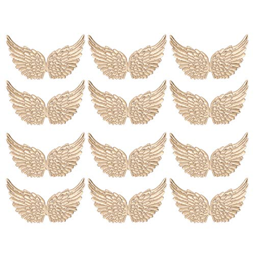 NUOBESTY 12PCS Angel Wings Fabric Wings Patches for DIY Crafts Hair Accessories (Golden)