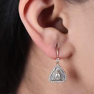 Natural 3.85 Ct. Diamond Set on Druzy Diamond Triangle Shape French Hook Dangle Earrings Solid 14k Rose Gold Fine Jewelry