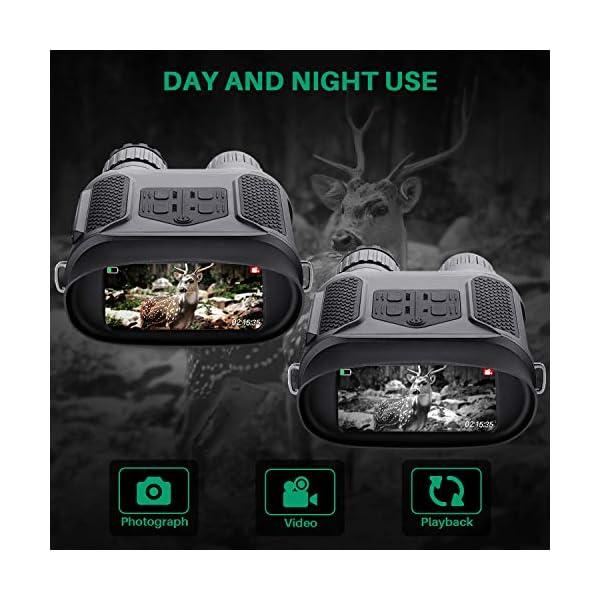Binoculares Digitales Vision Nocturna, Tomar Fotos y Videos -Equipo de Espionaje infrarrojo de 3.5-7x31mm,850nm IR… 2