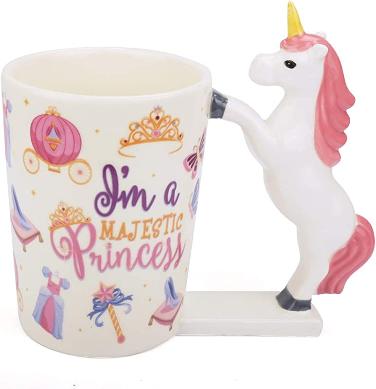 Unicorn Mug For Girls 12oz Unicorn Coffee Mug Funny Ceramic Morning Tea Cup With Handle Cute 3D Magical Rainbow Unicorn Tumbler Ornaments Novelty Unicorn Gifts For Women Kids Unicorn Lover Pink