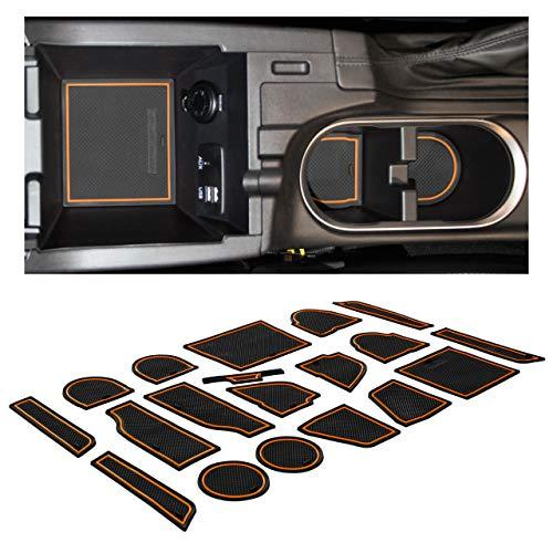 CupHolderHero for Subaru Crosstrek 2018-2020 and Subaru Impreza 2017-2020 Custom Liner Accessories – Premium Cup Holder, Console, and Door Pocket Inserts 19-pc Set (Orange Trim)
