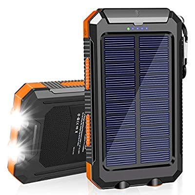 SolarCharger 20000mAh Solar Power Bank Waterproof Portable Charger with Dual 5V USB Port/LED Flashlight Compatible withAll Smartphone External Battery Pack PerfectforOutdoor/Camping/Trip