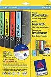 Avery Zweckform L4760-20X Ordner-Etiketten, 192 x 38 mm, 20 Blatt/140 Etiketten, farbig sortiert