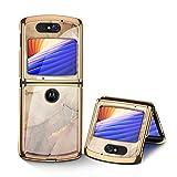 STKJ pour Motorola Razr 5G Case, 9H Verre Trempé Antichoc Ultra Mince Placage Plastique Écran...