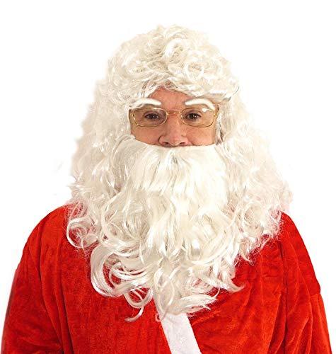 L+H Nikolaus-Bart im Set [4-TLG.] | 1x Weihnachtsmann-Bart, 1x Santa Claus Brille Gold, 1x Weihnachtsmann-Perücke inkl. Augenbrauen | Nikolaus Kostüm geeignet für Weihnachten für Erwachsene u. Kinder