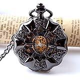 Mano de obra elegante y simple, exquisita, buenos Reloj de bolsillo negro Acero completo Luminoso Mecánico Steampunk Vintage Hollog Análogo Esqueleto Esqueleto Mano Reloj de bolsillo mecánico