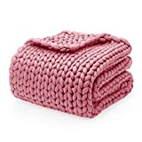 YnM Knitted Weighted Blanket, Hand Made Chunky Knit Weighted Throw Blanket for Sleep, Stress or Home Décor, Rest and Relax in Style with YnM's Handmade Weighted Blankets (Pink, 48''x72'' 12lbs)