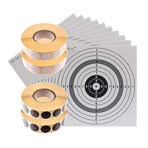 shoot-club Schusspflaster Set - 2X Rolle weiß & 2X Rolle schwarz 19 mm selbstklebend - je 2000 Stück pro Rolle - inklusive 10 ShoXx. Zielscheiben 14 x 14 cm