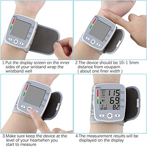 51yOWaQ0mrL - U-Kiss Tensiómetro de muñeca, monitor de presión sanguínea para el hogar o portátil (Gris)