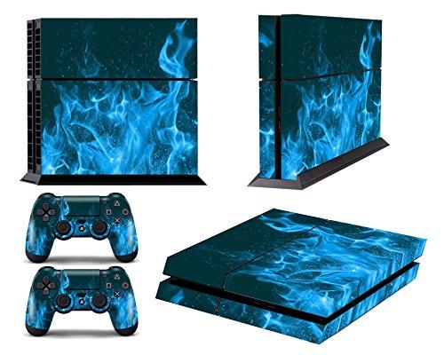 GameXcel ® PS4 Diseñador Pegatina protectora de la piel para Sony Playstation 4 consola del sistema más dos (2) Calcomanías Para: mando inalámbrico DUALSHOCK PS4 - Blue Fire: Amazon.es: Videojuegos