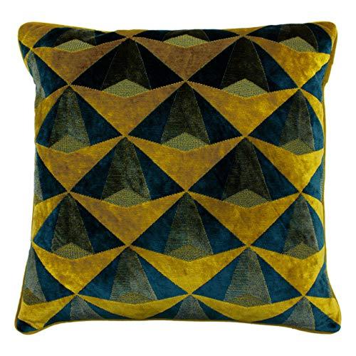 Paoletti Leveque Kissen mit Federfüllung, Blaugrün/Gold, 50 x 50cm