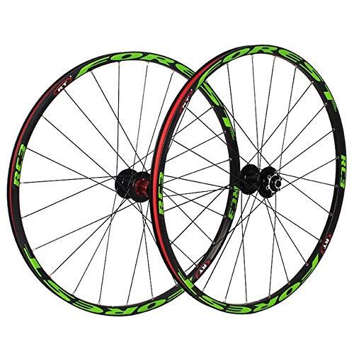 XIAOL Ruedas Traseras Delanteras De Bicicleta para Bicicleta De Montaña De 26'27.5' Juego De Ruedas De Bicicleta MTB 7 Rodamiento Tambor De Aleación Freno De Disco 8 9 10 11 Velocidad,Green-27.5inch