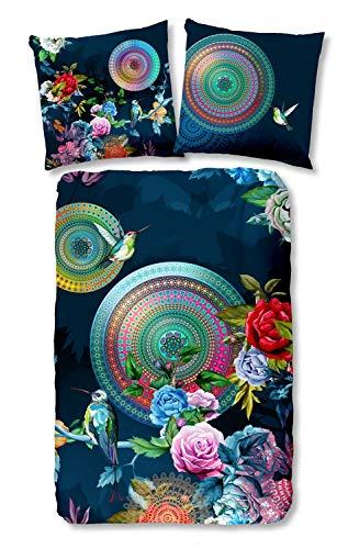 Pureday Chiara Parure de lit 100 % coton avec fermeture Éclair Bleu foncé Multicolore, Coton, multicolore, 155 x 220 cm / 80 x 80 cm