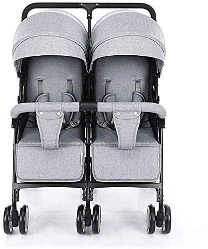 IOUYRRN Cochecito de doble paraguas Escudo de tiempo ligero para el cochecito doble Universal Lado por lado Cochecito de bebé Contiene cubierta de lluvia Pad de enfriamiento Cubierta del pie de la som