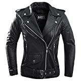 Ladies Leather Motorcycle Jacket For Women Classic Vintage Cafe Racer Brando Biker Jackets (Large)