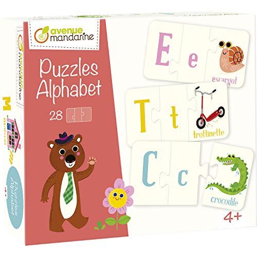 Avenue Mandarine 52593O - Une boite de 28 puzzles 3 pièces Alphabet 6x11 cm