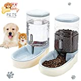 Lucky-M Pets Automatic Feeder and Waterer Set,Dogs Cats Food Feeder and Water Dispenser 3.8L,2 in 1 Cat Food Water Dispensers for Small Medium Big Pets (Gray)