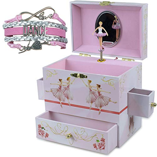 ShameOnJane Ballerina Jewelry Box and Girls Jewelry Box - Music Box - Swan Lake, a Great Gift for Girls or Jewelry Box for Little Girls - Bonus Dance Bracelet- Dance Recital Gift!
