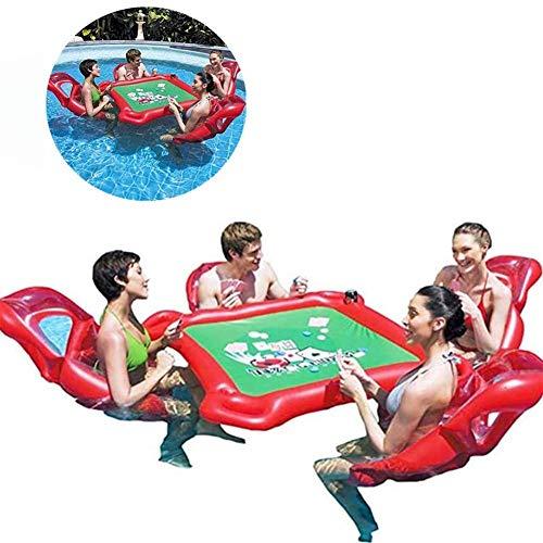 WQSFD Aufblasbar Floating Poker Tisch Mahjong Aufblasbare Aufblasbarer Pool-Floss-Mahjong-Poker-Tisch Und 4 Stühle Eingestellt Für Texas-Holdem-Erwachsenes Wasser-Spiel-Spielzeug