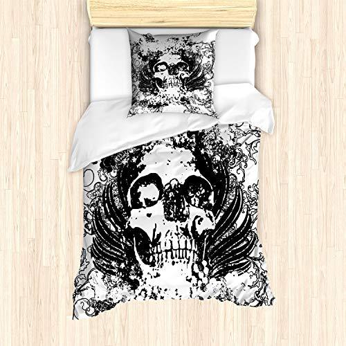 ABAKUHAUS gótico Funda Nórdica, Oscuro Horror Scary cráneo, Decorativo, 2 Piezas con 1 Funda de Almohada, 135 x 200 cm, En Blanco y Negro