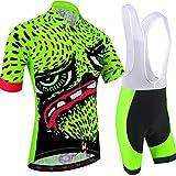 BXIO Ropa de Ciclismo de Dibujos Animados Camisetas Cortas para Hombre 5D Gel Pad Culotte Corto con Babero MTB de Secado rápido Ropa de Ciclismo 210 (Fluo...