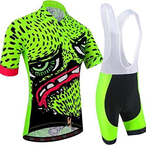 BXIO Ropa de Ciclismo de Dibujos Animados Camisetas Cortas para Hombre 5D Gel Pad Culotte Corto con Babero MTB de Secado rápido Ropa de Ciclismo 210 (Fluo Green(210,Bib Shorts), XL)