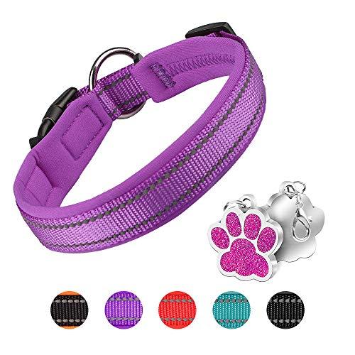 PcEoTllar Collar de Perro Suave Acolchado Neopreno Ajustable Collares Reflectantes para Mascotas para Perros PequeñOs Medianos Grandes - Morado - S