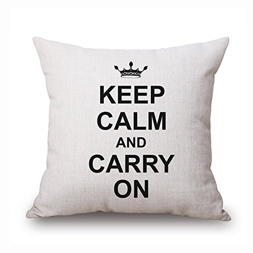 loQuenn Keep Calm And Carry On Quotes – Federa Federa copricuscino 18 x 18