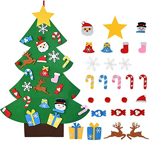 Felt Christmas Tree for Children, DIY Christmas Tree Decoration Hanging Decor with 26 Removable Hanging Ornaments Christmas Gift Hanging Decor for Home Felt Fabric for DIY Crafts (26 Pieces)