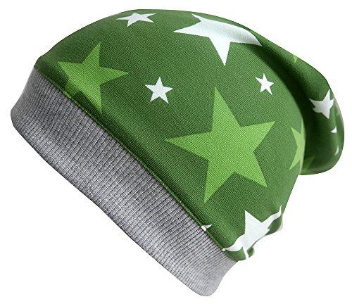 Wollhuhn ÖKO Beanie-Mütze Happy Stars grün für Jungen und Mädchen (aus Öko-Stoffen, Bio), 31818346, Größe: XXS: KU 36/40 (bis ca 6 Mon.)
