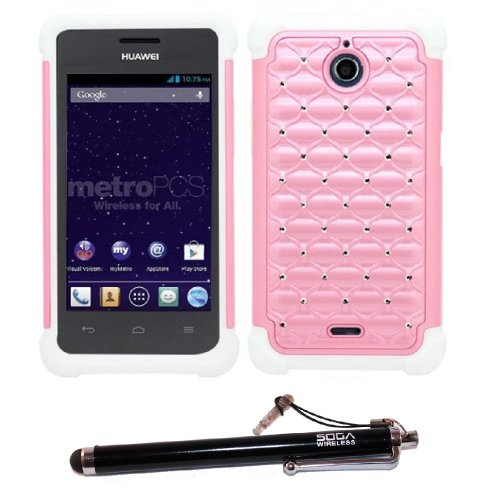 2-in-1 Bundle Combo SOGA Light Pink White Diamond Hybrid Hard Cover Case For Huawei Ascend Plus H881C / Valiant Y301 with SogaWireless Stylus Pen [SWE405]