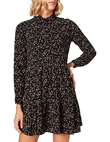 Vero Moda VMSAGA L/S Collar Peplum Dress WVN Vestido, Negro/AOP: Natalie, M para Mujer