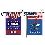 """Amosfun As Bandeiras Do Jardim Donald Trump 2020 Mantêm a América Ã""""tima Novamente Chega de Besteira Bandeira Quintal Dupla Face Bandeira Gramado Decoração Ao Ar Livre Dia da Eleição"""