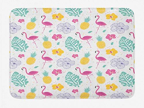 N / A Luau Badematte, Blütenblätter Monstera Blätter Flamingo Ananas und unregelmäßige Tupfen, Plüsch Badezimmer Dekor Matte mit Rutschfester Rückseite, weiß Seafoam Pink und Senf