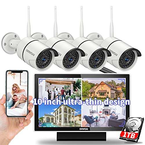 【8CH Expandable·Audio】 All in One Monitor Wireless Security Camera System,Home Surveillance Video Camera Kits with 10