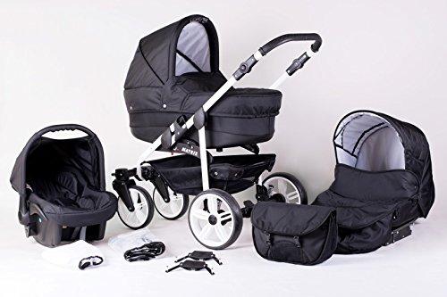 Matrix Modernes Travelsystem Kinderwagen Babywagen Buggy Kinderwagen System + Wickeltasche + Regenschutz + Insektenschutz (3in1 (inkl. Babyschale), schwarz)