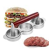 LAZAJ Burger Press Hamburger Maker 3 Diseño De Cuadrícula, Recubrimiento Antiadherente Con Mango De Madera Para Hacer Fácilmente Hamburguesas De Carne De Res Y Hamburguesas Con Forma Perfecta