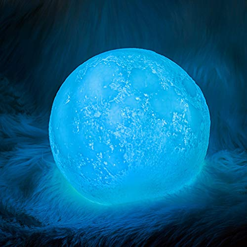 QFFL Moon lamp 15 Cm 3D Moon Lamp 7 Colours RGB Night Light Touch Control Dimming with USB Charging for Children Baby Party Gift Decoration (Color : 7 COLOR, Size : 15CM)