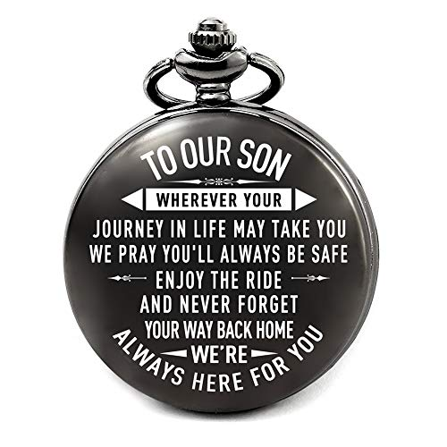 Son Gifts from Mom and Dad for Wedding, Son Birthday Gifts Ideas, Fathers Day Gifts for Son, Christmas Gifts for Teen Boys, Engraved Pocket Watch for Son (to Our Son)