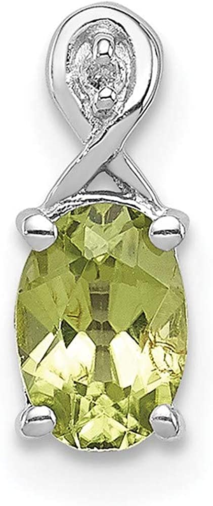 925 Sterling Silver Easy-to-use Diamond 2021 spring and summer new Green Pendant Oval Peridot Charm Nec