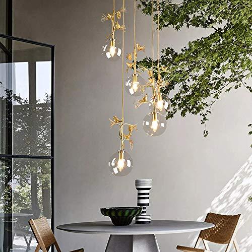 Xihou Araña - Nordic Duplex Lámpara De Hierro Forjado, Villa Escalera De Caracol Ronda Araña, E14 * 5, 40 Cm Diámetro Vale la pena Tener