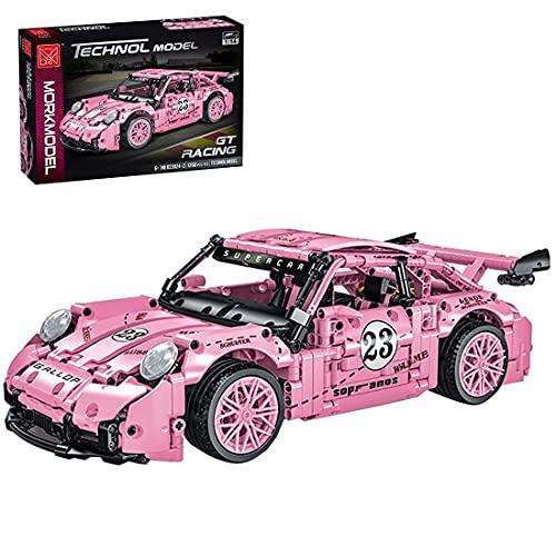 EWWEEQQ Juego de construcción de Autos superdeportivos técnicos 1268 Piezas de Juguete de ensamblaje de Bricolaje para Autos de Carreras para niños y Adultos Compatible con Lego Technik-Pink